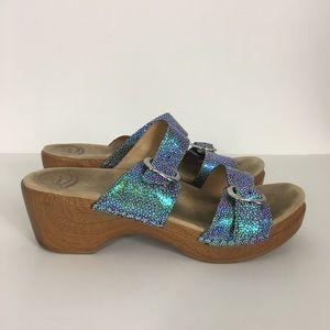 Dansko Sophie Iridescent Blue Sparkle Sandals